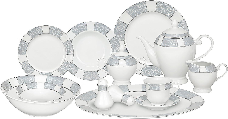 Lorren Home Trends 57-Piece Porcelain Dinnerware Set, Domus, Service for 8,White