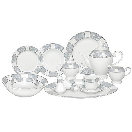 Lorren Home Trends 57-Piece Porcelain Dinnerware Set Domus Service for 8  sc 1 st  Amazon.com & Amazon.com | Lorren Home Trends 57-Piece Porcelain Dinnerware Set ...