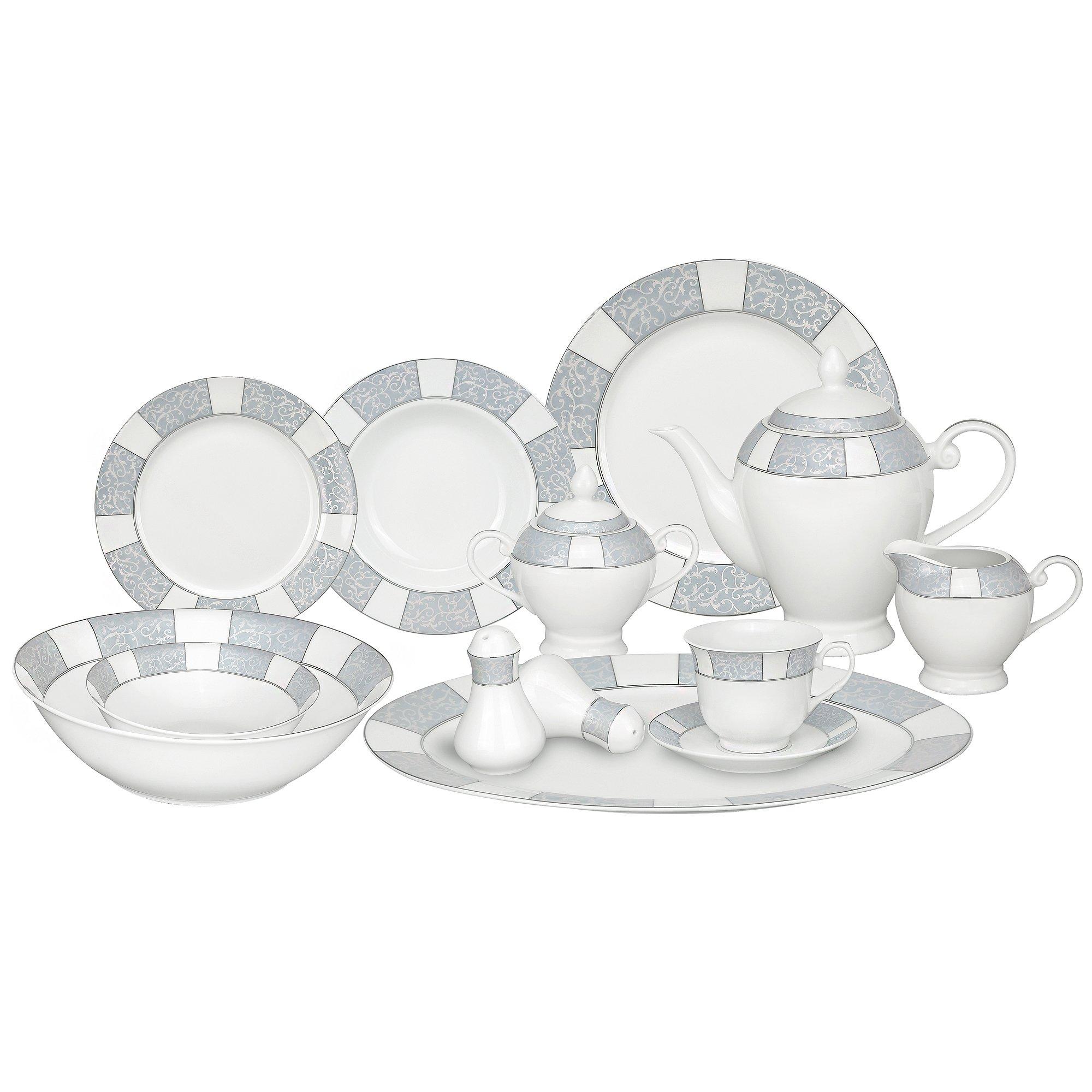 Lorren Home Trends 57-Piece Porcelain Dinnerware Set, Domus, Service for 8