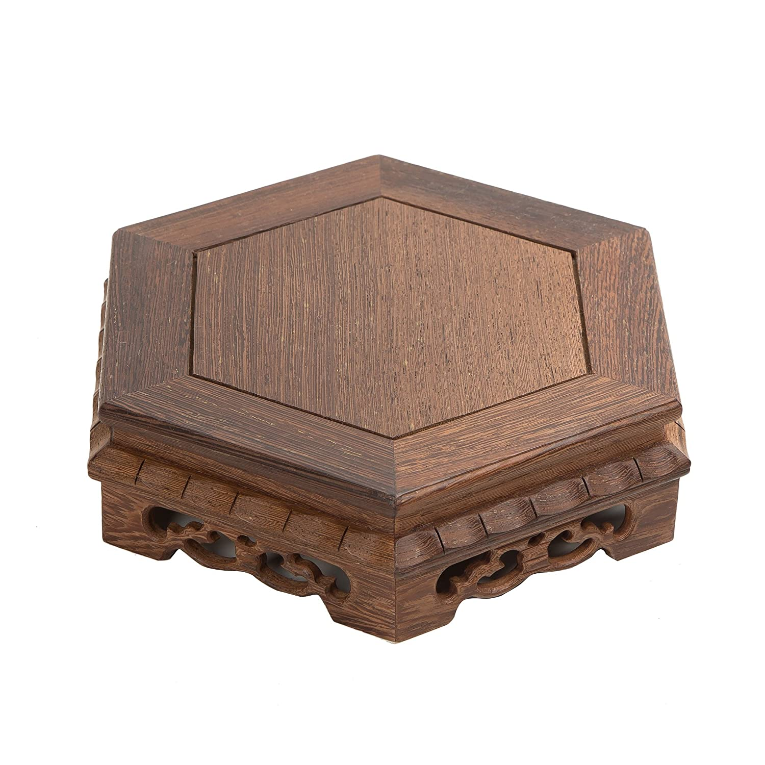 Oriental Furniture Chinese Rosewood Display Stands Pedestal Hexagon Shape Carved Solid Wood JiChi Wooden Base For Home Arts Antique Stone Display Decoration (S 12cm*12cm*5.5cm) shanghailuoluo