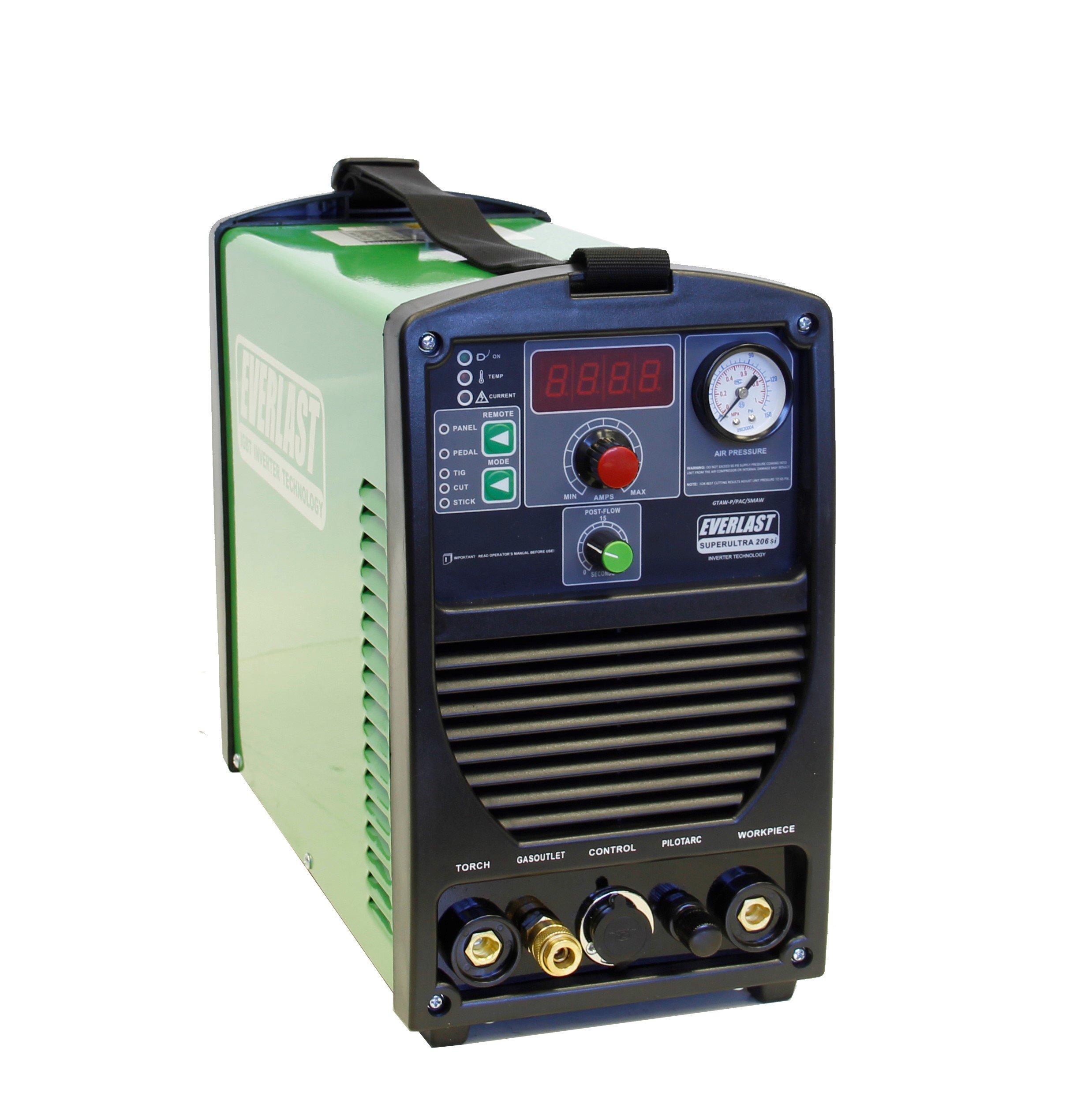 2017 Everlast SuperUltra 206si 200a Tig Stick 50a Plasma Cutter Multi Process Welder Dual Voltage 110/220v