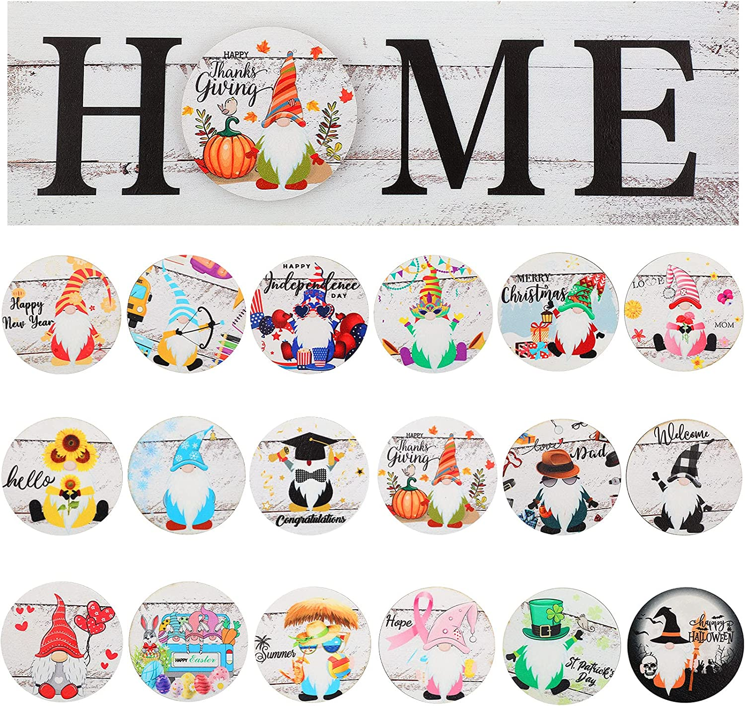 Home Sign Rustic Wood Home Decor with 18 Interchangeable Round Holiday Sign Wooden Door Hanger Front Door Porch Hanging Ornament Wall Decor for Easter, Christmas, Thanksgiving, Halloween, 4th of July