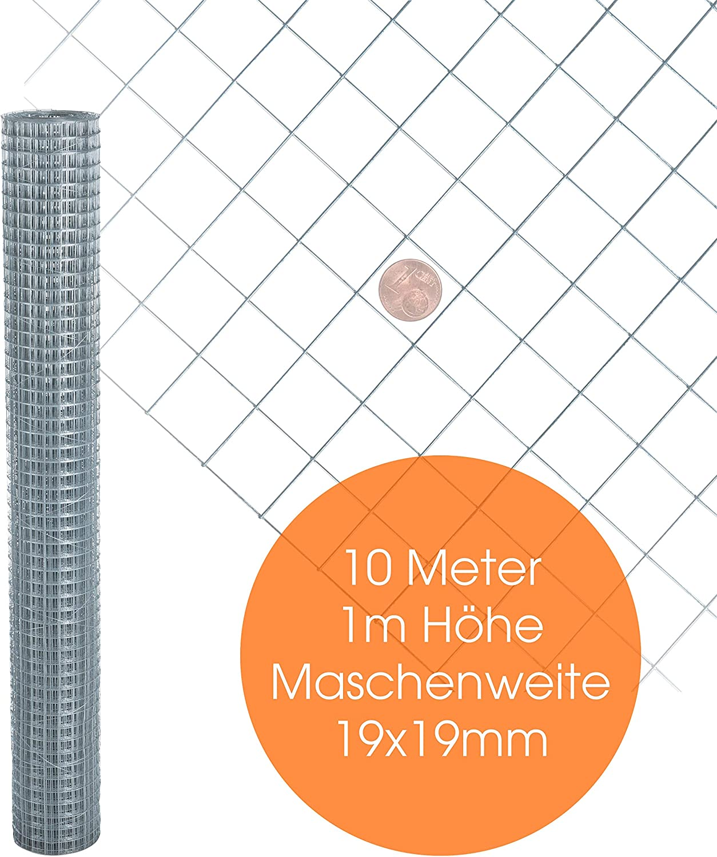 Volierendraht Drahtgitter Länge 10 m Höhe 100 cm feuer verzinkt Vogeldraht