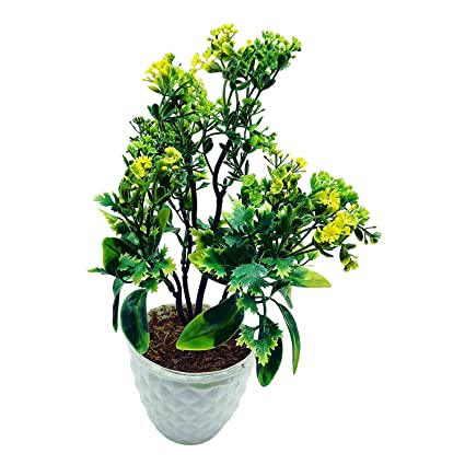 Buy artificial plant with pot 5 branched bonsai tree with big artificial plant with pot 5 branched bonsai tree with big green leaves and yellow flowers mightylinksfo