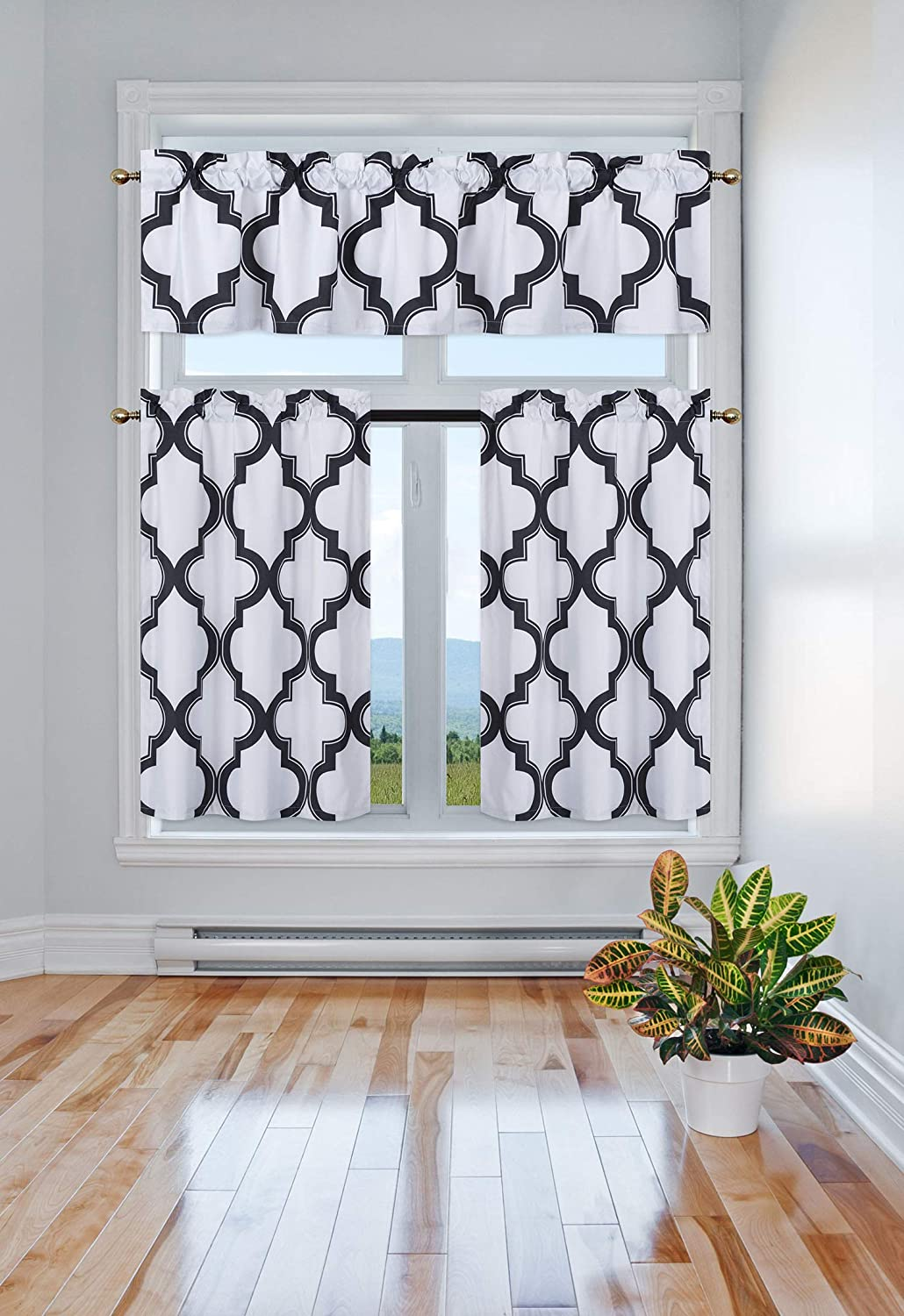 GorgeousHome (7LO) 3PC Kitchen Set 2 Tier +1 Valance Geometric 2-Shade Print Lined Blackout Window Curtain Rod Pocket Top Panel Drape Many Colors (Black)