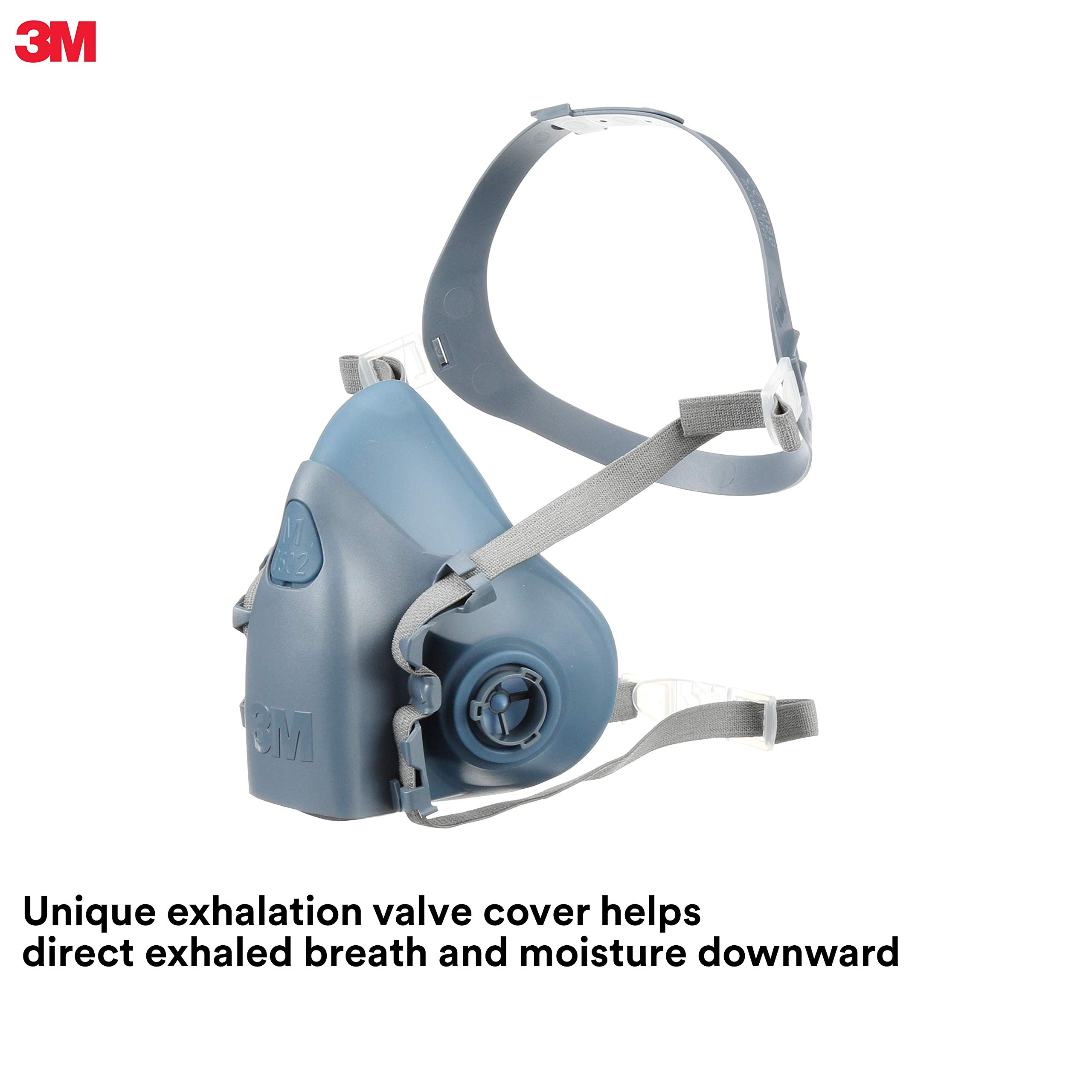 3M Reusable Respirator, Half Face Piece 7502, Use With Bayonet Cartridges/Filters (not included) for Gases, Vapors, Dust, Medium Size