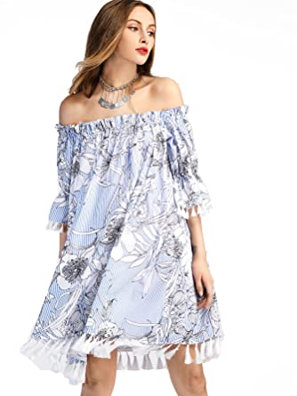 b9683ae67f608 SheIn Women's Print Off Shoulder Tassel Trim Half Sleeve Striped Dress  Medium Blue