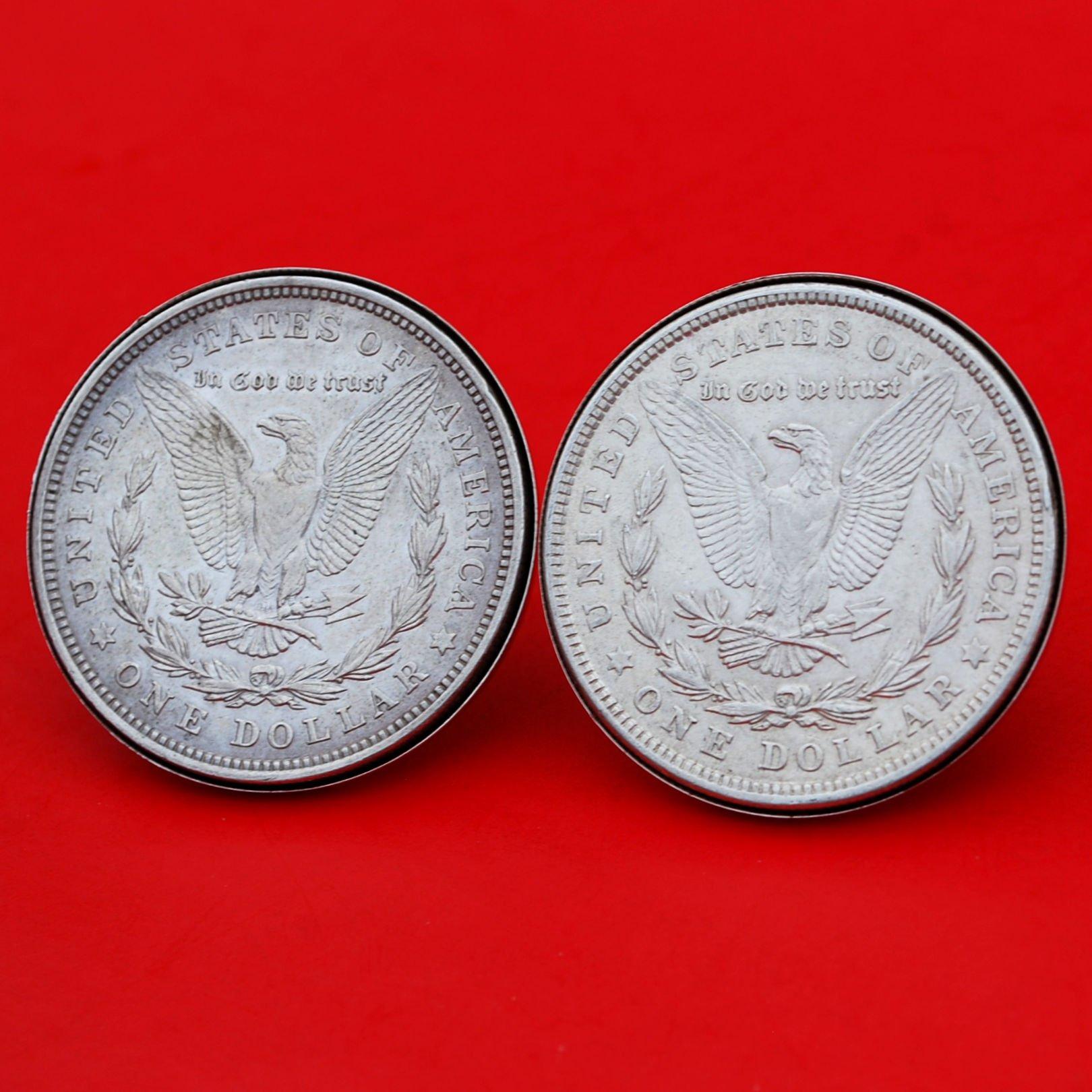 US 1921 Morgan Silver Dollar Silver Cufflinks NEW - REVERSE + REVERSE