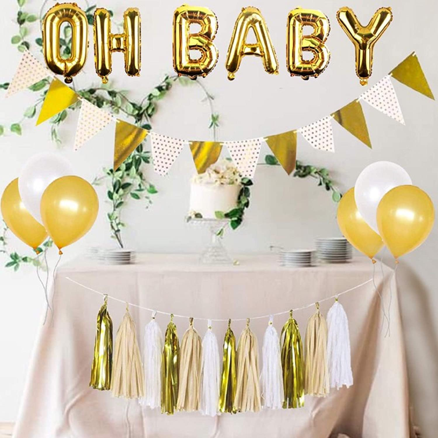 Amazon Com Baby Shower Decorations Gender Neutral Oh Baby Balloon Gold And White Balloons White And Gold Banner Gold And White Tassel Set Gold And White Baby Shower Rustic Baby Shower Decorations Toys