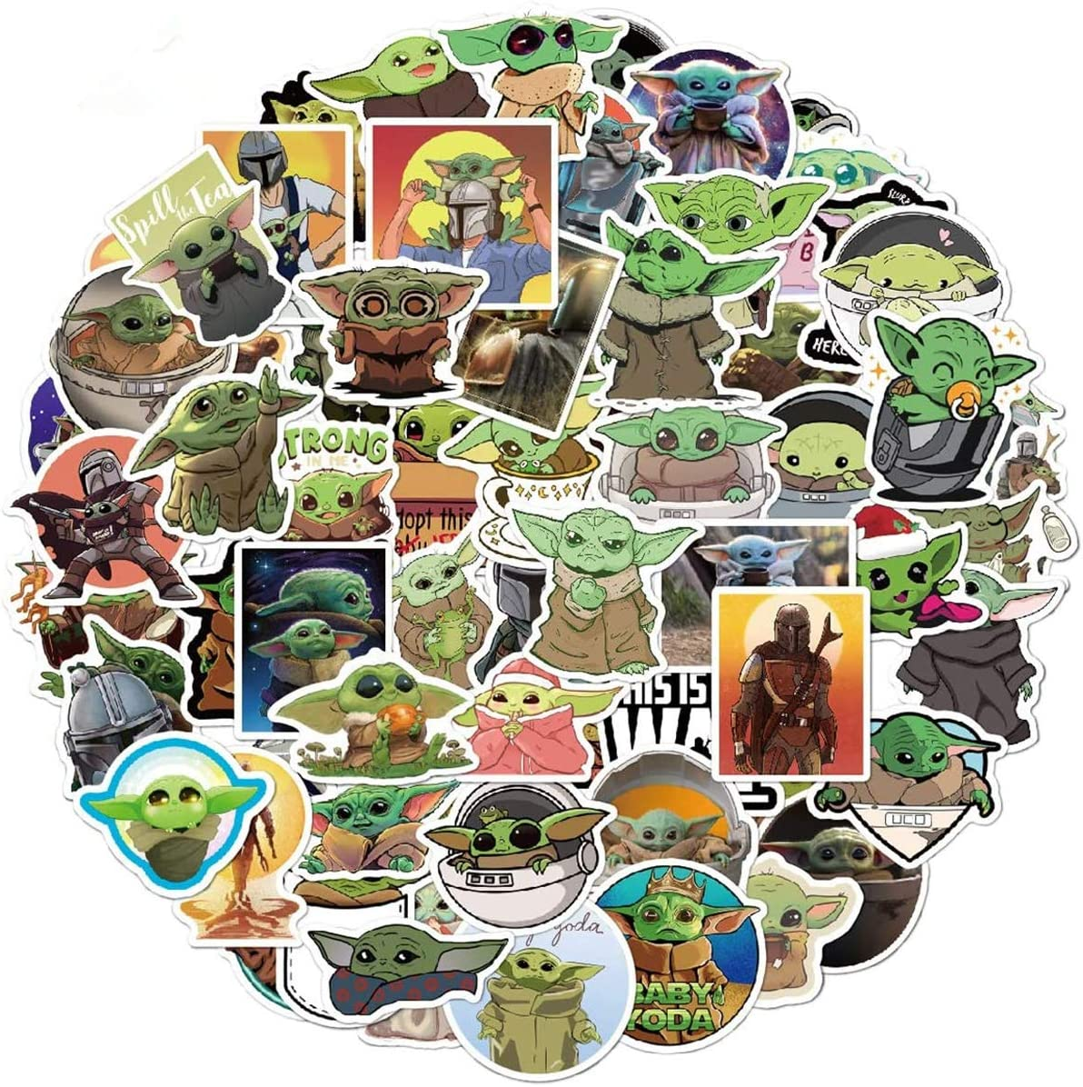 Mosteck 72Pcs Yoda Baby Star Wars Cartoon Mix Graffiti Sticker Vinyl Graffiti Decals for Laptop Car Kids Book Skateboard Moto Bike Luggage Snowboard