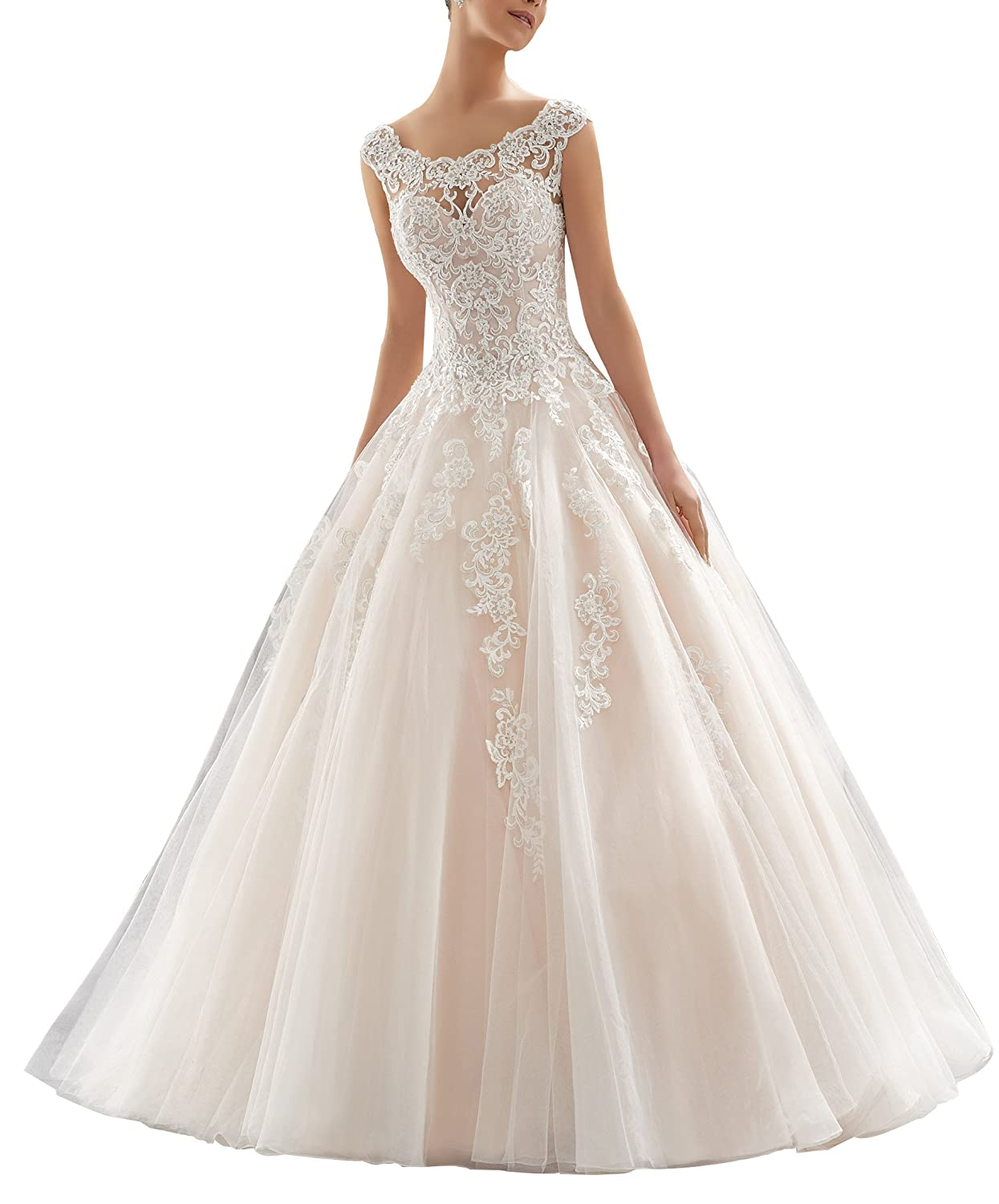 Womens Embroidered Lace Square Neck A Line Wedding Dress Cap Sleeve