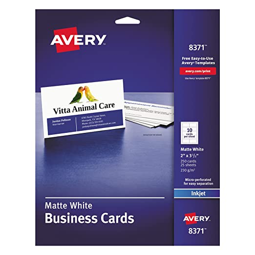 Amazon avery 8371 printable microperf business cards inkjet amazon avery 8371 printable microperf business cards inkjet 2 x 3 12 white matte pack of 250 business card stock office products reheart Gallery