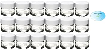 5ml / 5g Clear Glass Jars with White Caps (Pack of 18)