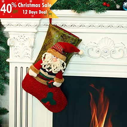 classic christmas stockings 18 cute santas toys stockings burlap 3d applique style felt xmas holiday - Amazon Christmas Stockings