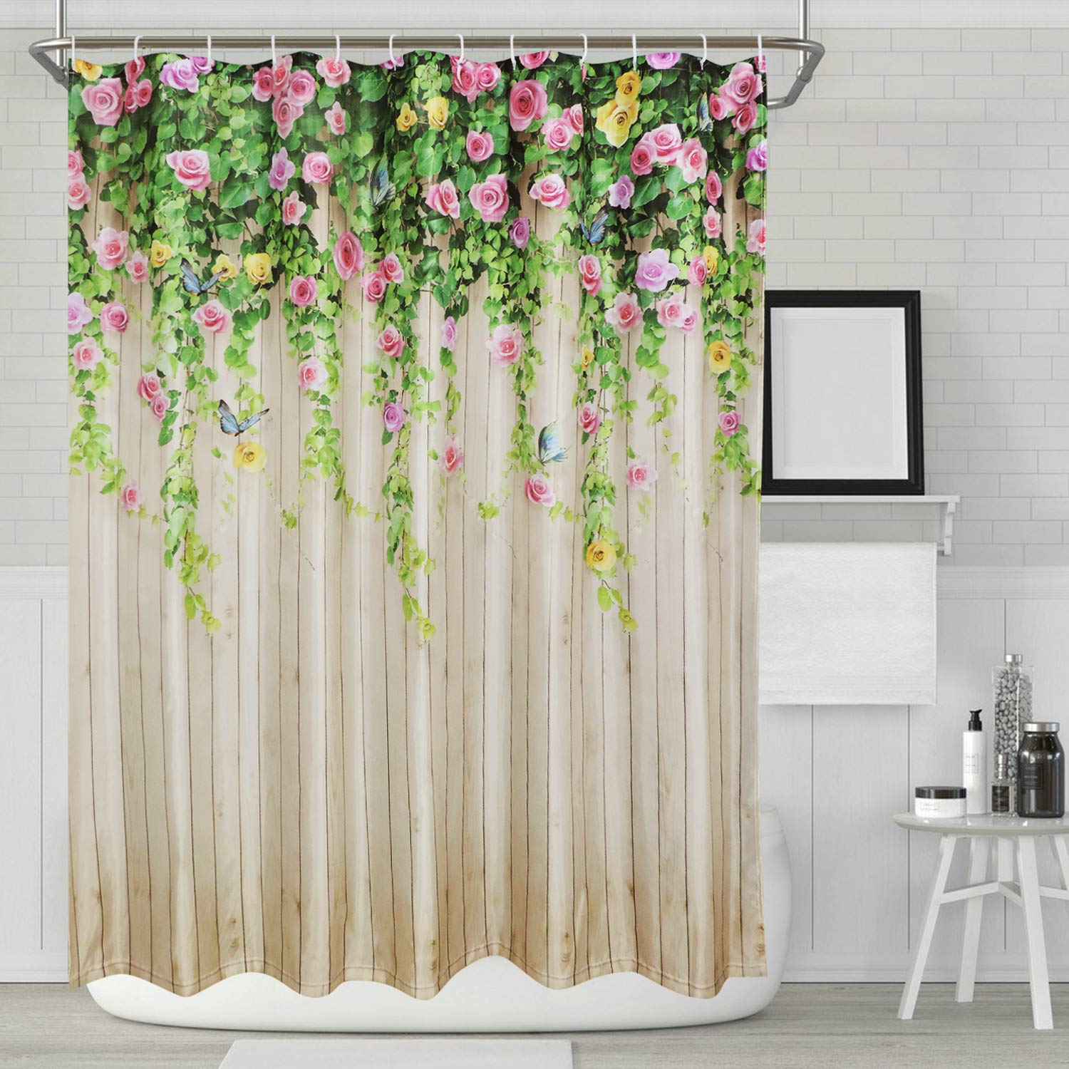 Amazon BLEUM CADE Ice Jazz Bathroom Shower Curtain Flower Butterfly Curtains Durable Waterproof Home Bath Sets 12 Hooks Kitchen