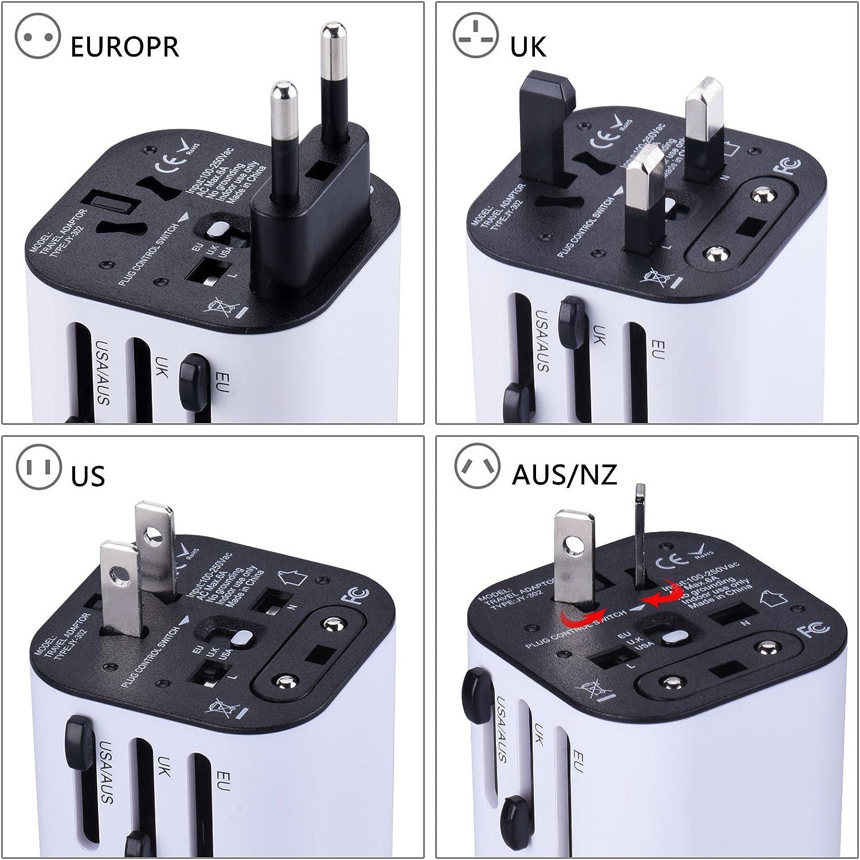 UK Europe /& Asia AU Tensun International Plugs Universal Power Adapter Detachable Dual 3.2A USB Ports with Worldwide Wall Plugs for US