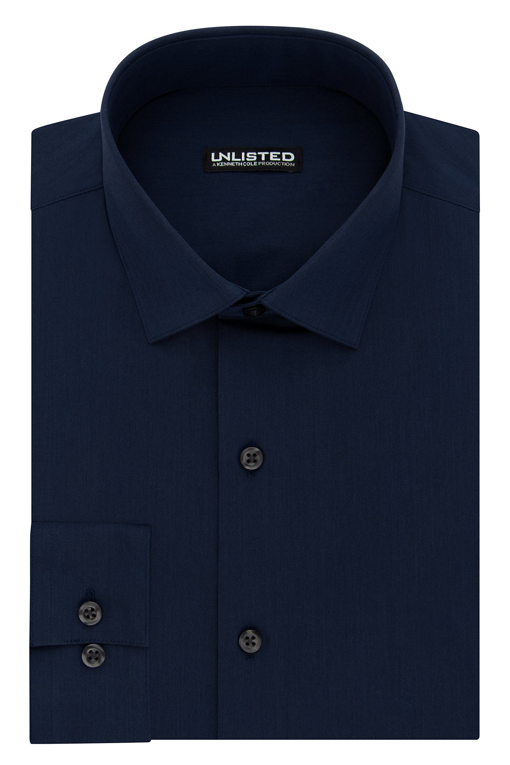 Kenneth Cole REACTION Unlisted Men's Slim Fit Solid Spread Collar Dress Shirt, Medium Blue, 18''-18.5'' Neck 34''-35'' Sleeve