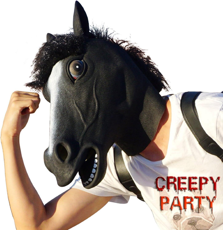 CreepyParty Fiesta de Disfraces de Halloween Máscara de Cabeza de Látex Animal Caballo Negro