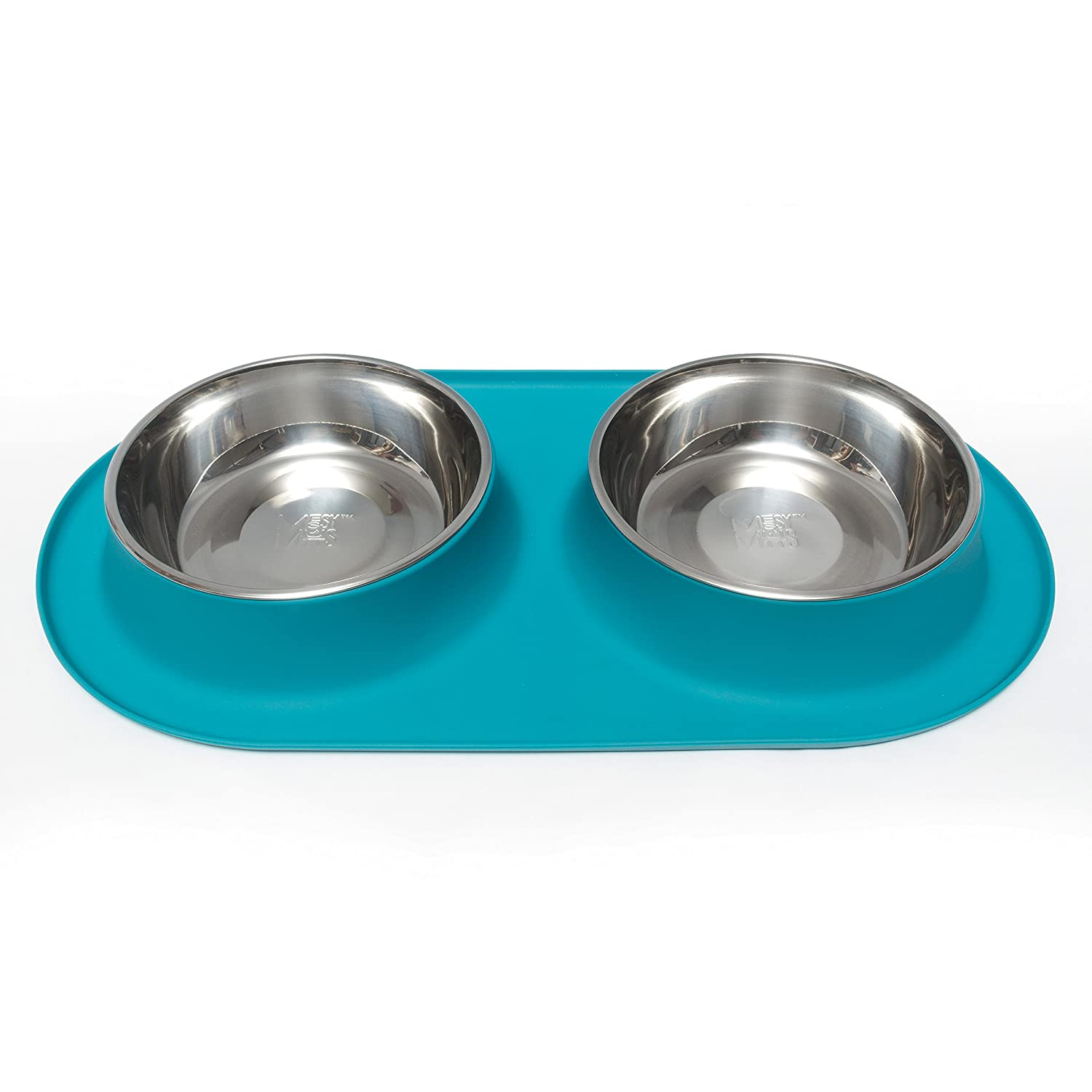 bluee Extra Large   6 Cups Per Bowl bluee Extra Large   6 Cups Per Bowl Messy Mutts Stainless Steel Double Dog Feeder with Non-Slip Silicone Base