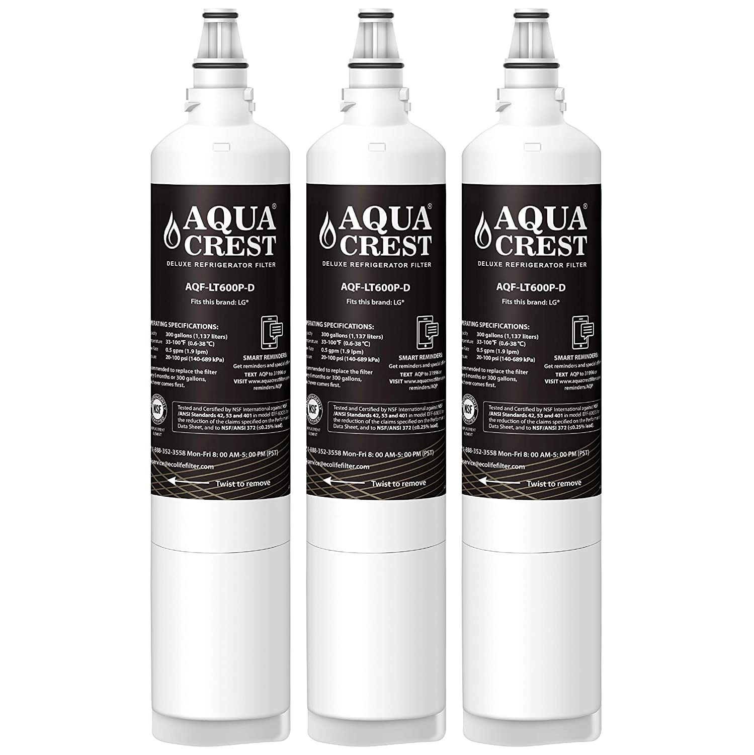 AQUACREST NSF 401&53&42 Refrigerator Water Filter, Compatible with LG LT600P, 5231JA2006B, 5231JA2006A, KENMORE 46-9990, 9990 (Pack of 3)