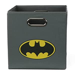 Batman Folding Storage Basket, Grey - Collapsible Storage Bin for Toys - Bedroom Organizer - Foldable Bin with Large Capacity. Kid's Room Decor