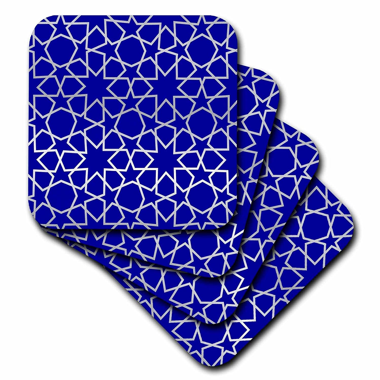 Set of 4 3dRose cst/_56724/_3 Silver Stars Outline Geometric Intricate Islamic Art Pattern on Blue Ceramic Tile Coasters