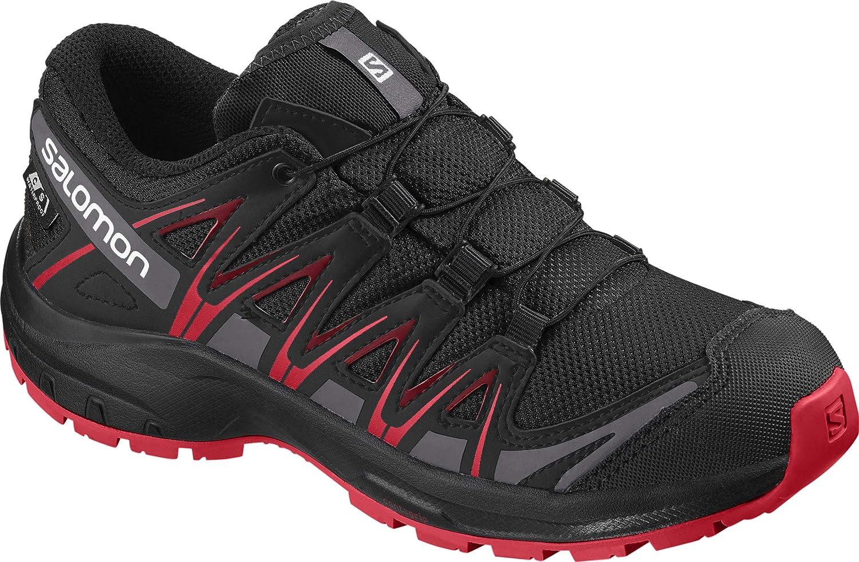 Salomon Kinder XA Pro 3D CSWP J, Trailrunning Schuhe, Wasserdicht, Schwarz (BlackBlackHigh Risk Red), Größe 37