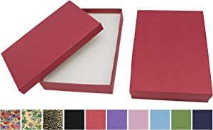 Novel Box Made in USA Jewelry Gift Box in Red Kraft with Removable Cotton Pad 7X5X1.25 (Pack of 8) + Custom NB Pouch