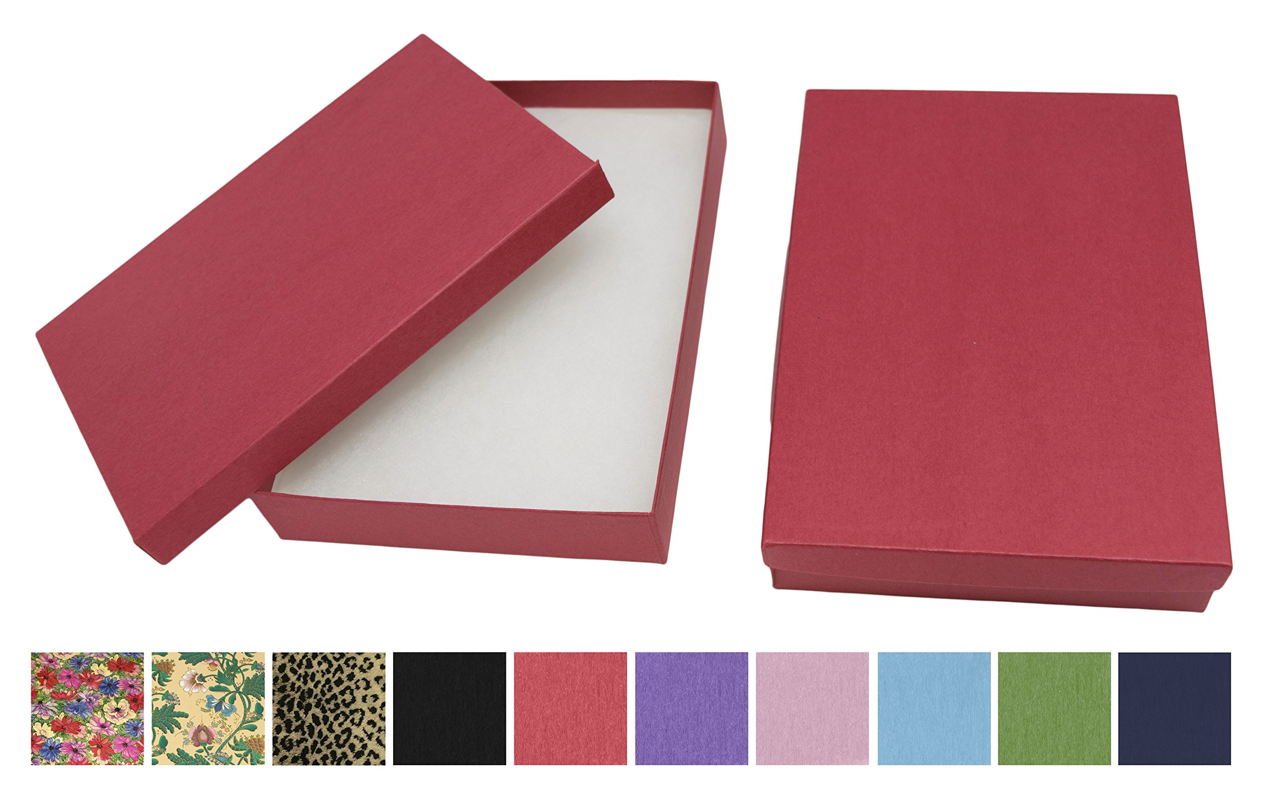 Novel Box® MADE IN USA Jewelry Gift Box in Red Kraft With Removable Cotton Pad 7X5X1.25'' (Pack of 8) + Custom NB Pouch