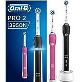 Oral-B PRO 2 2950N Elektrische Zahnbürste Special Edition, mit zwei CrossAction Aufsteckbürsten und 2 Handstücken, pink/schwarz