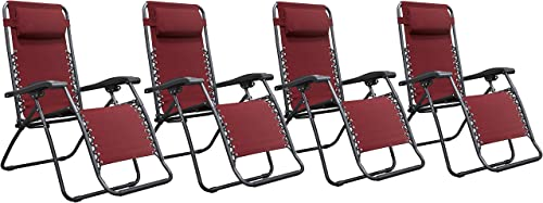 Naomi Home Zero Gravity Chairs, Lounge Patio Outdoor Recliner Chairs Red Set of 4