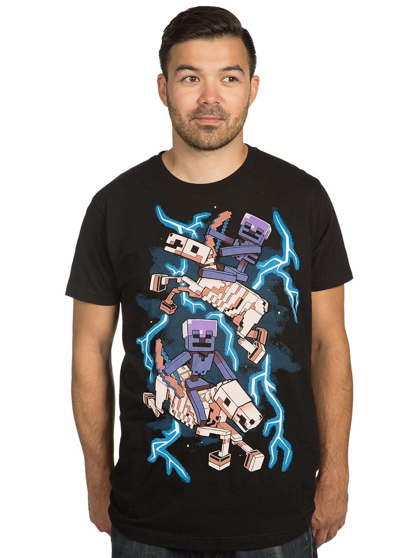 e52adcde0e07 JINX Minecraft Skeleton Riders Men's Premium Tee Shirt | Amazon.com