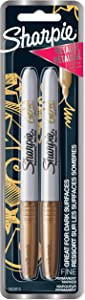 Sharpie Metallic Permanent Markers, Fine Point, Gold, 2 Count