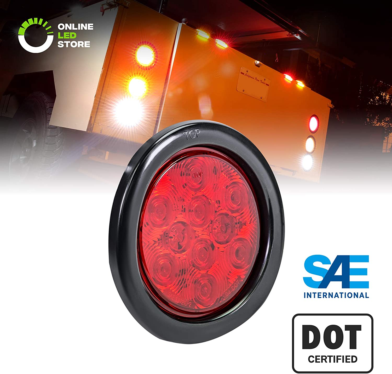 IP67 Waterproof Grommet /& Plug Included Stop Turn Tail SAE S2TSI6P2 DOT FMVSS 108 Trailer Brake Lights for Boat Trailer RV Trucks 2pc 4 Red Round LED Trailer Tail Light Kit