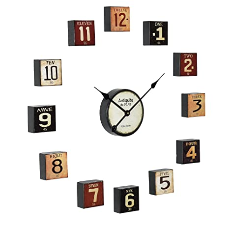 37c7e74fb520  en.casa ® Reloj de pared decorativo con pantalla analógica - varias piezas