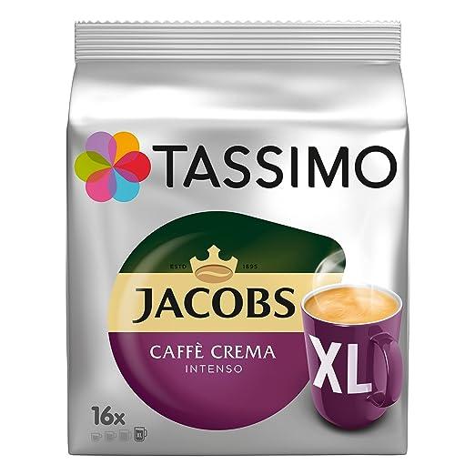 Tassimo Jacobs Caffè Crema Intenso XL, Café en Cápsulas, Cápsulas de Café, Café Tostado y Molido, 16 T-Discs