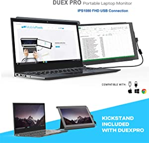 "Mobile Pixels Duex Pro Portable Monitor for Laptops 12.5"" Full HD IPS USB A/Type-C USB The On-The-Go Dual-Screen Monitor, Plug and Play (Duex Pro with Kickstand)"