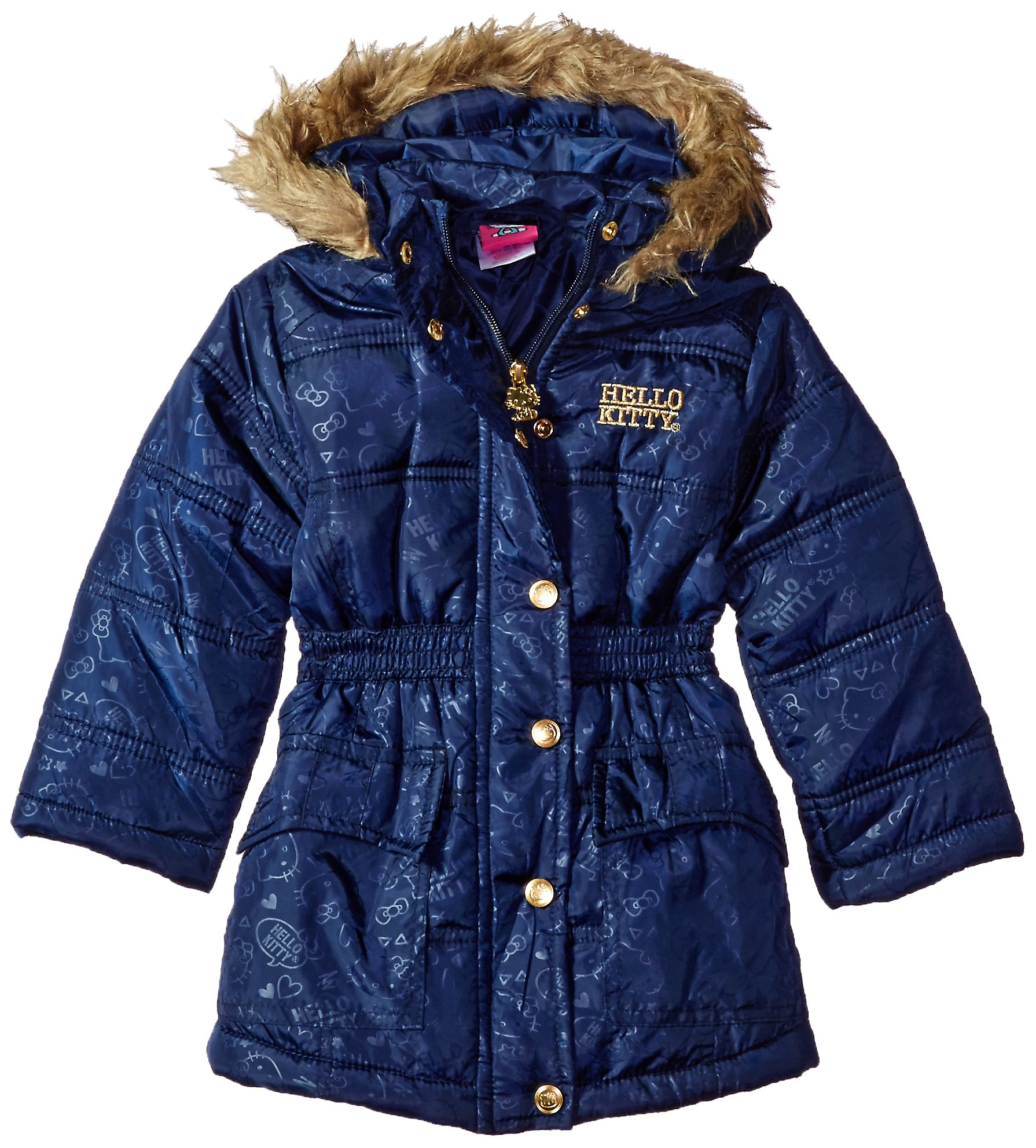 Hello Kitty Big Girls All Over Printed Long Puffer with Faux Fur Trim Hood, Navy, 7