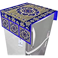 Kuber Industries Flower Design Top Refrigerator Covers (Blue_Cotton_FC12)
