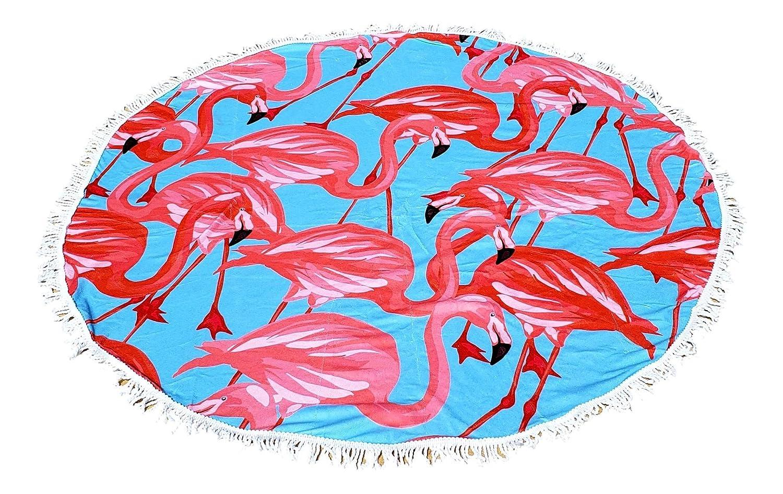 White Baseball Baseball Softball Flamingo Round Beach Towel Blanket
