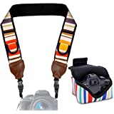 TrueSHOT Neoprene Striped Camera Neck Strap and Camera Case with Accessory Storage Pockets - Works with Canon PowerShot SX410 IS , 5D Mark III , EOS 5DS and More Cameras
