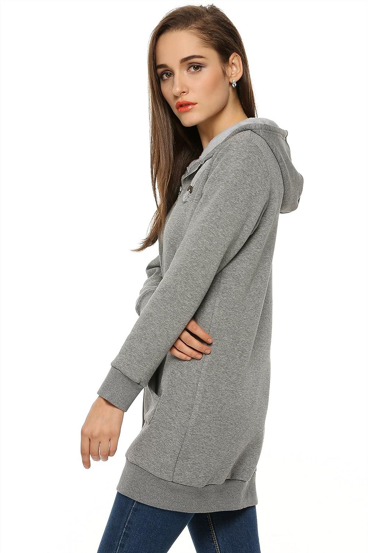 Zeagoo Women Winter Casual Zipper Hoodies Sweatshirt Coat Fleece Mooi Printing Premium Sweater Top Large Blue Clothing