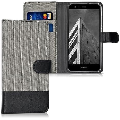 kwmobile Funda para Huawei P10 Lite - Carcasa de Tela y [Cuero sintético] - con Tapa y [Tarjetero] [Gris/Negro]