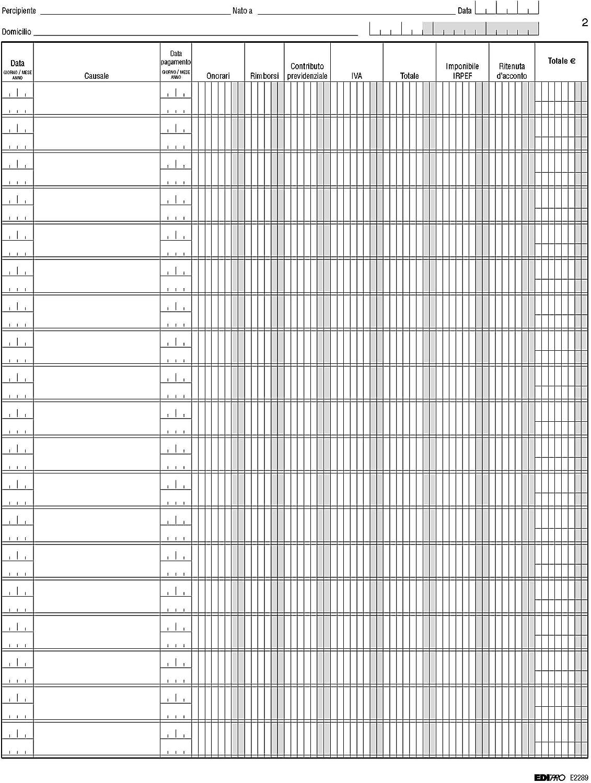 EDIPRO E2289 Registro compensi a terzi 23 pagine numerate f.to 31x24,5