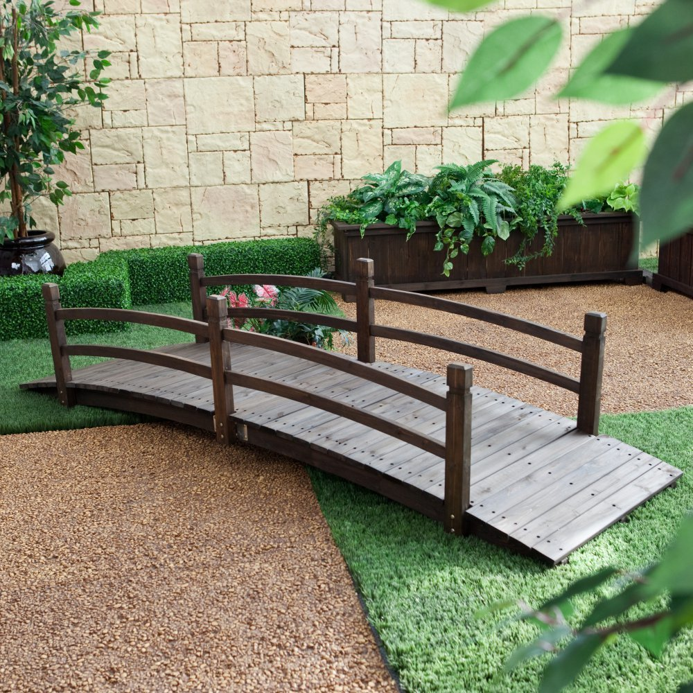 Coral Coast Harrison 8-ft. Wood Garden Bridge - Dark Stain by Coral Coast