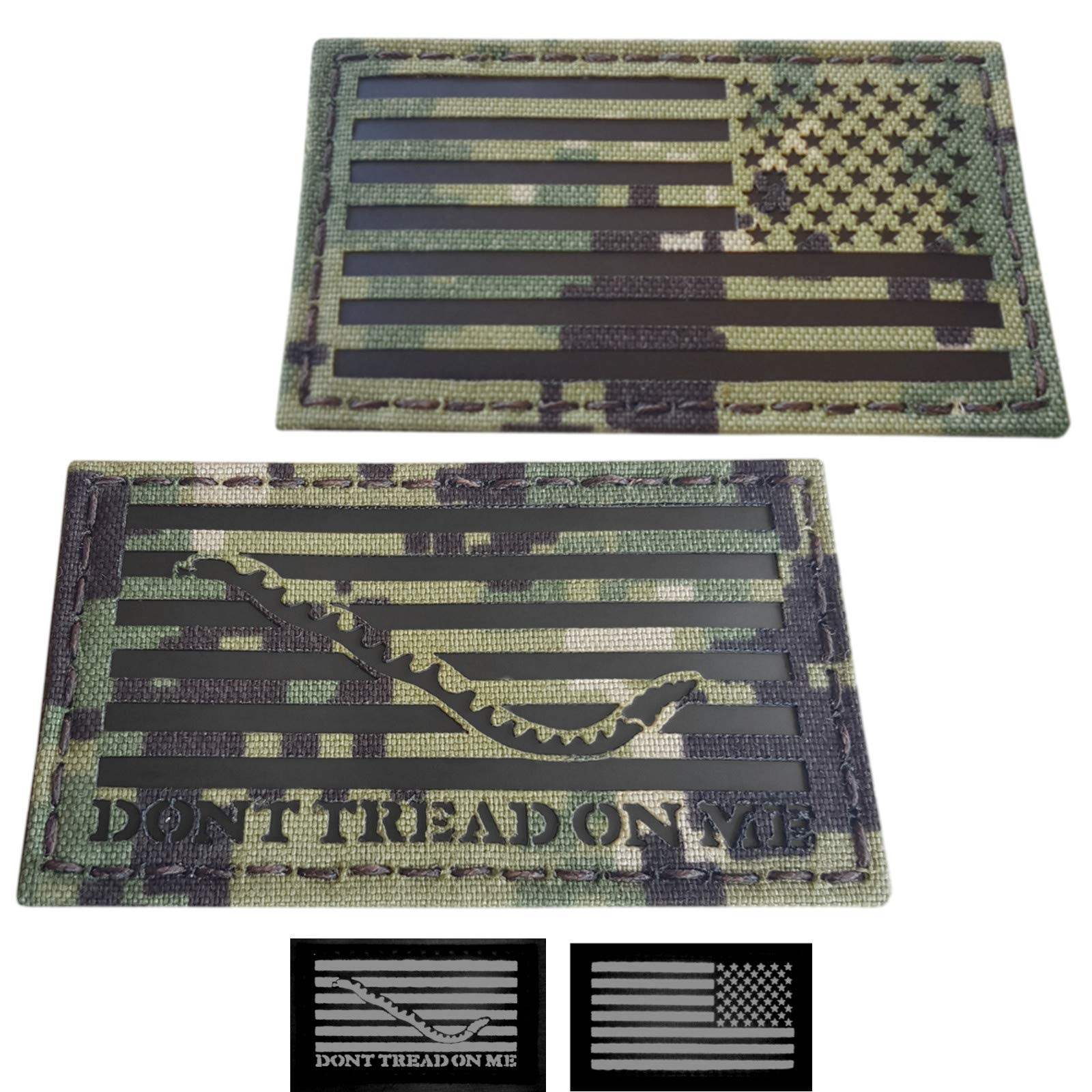 Tactical Freaky IR Bundle Set of 2 pcs AOR2 First Navy Jack USA Reversed Flag DTOM 2x3.5 NWU Type III Infrared Chest Rig Plate Carrier Morale Fastener Patches by Tactical Freaky