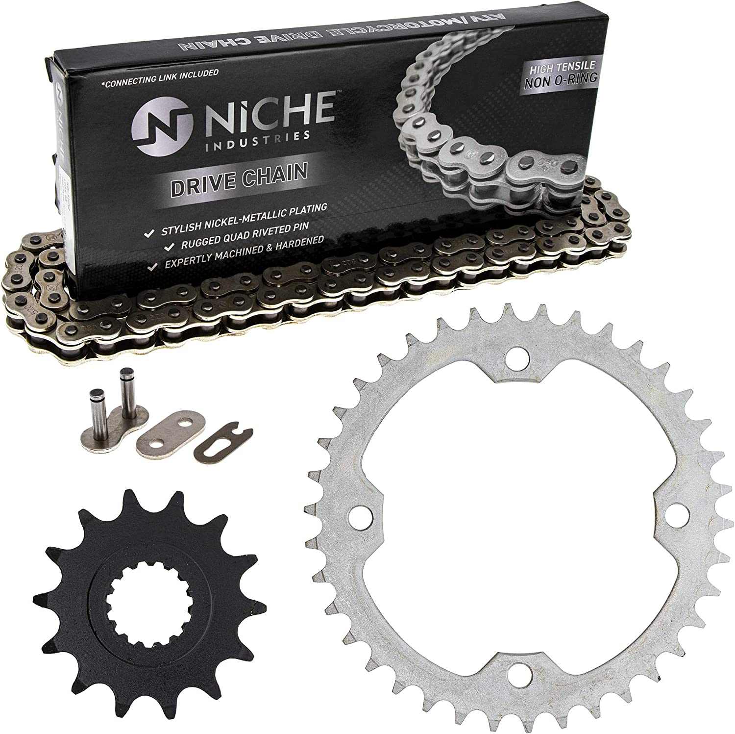 NICHE Drive Sprocket Chain Combo for Yamaha Raptor 700 YFZ450R Front 14 Rear 38 Tooth 520NZ Standard 98 Links