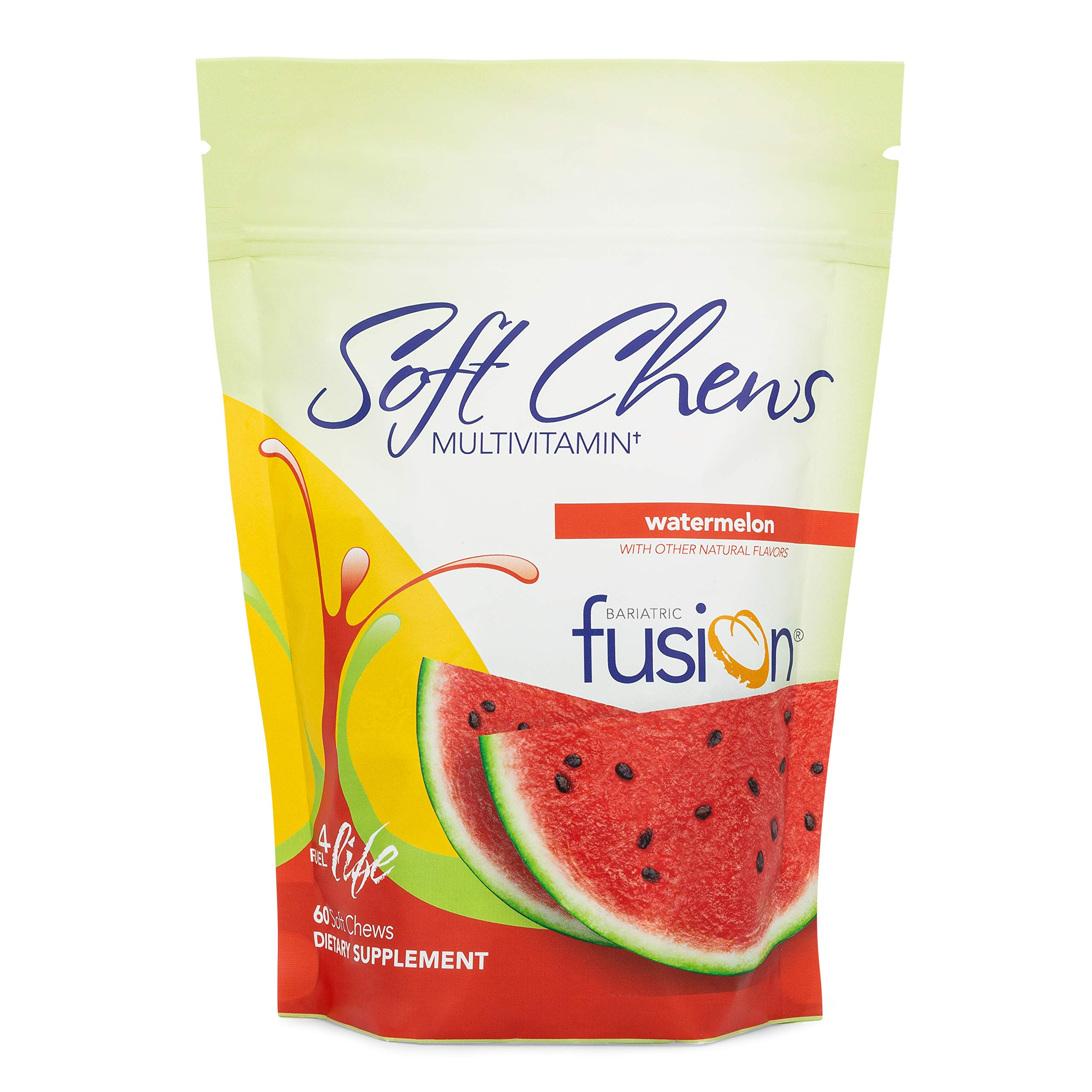 Bariatric Fusion Watermelon Bariatric Multivitamin Soft Chews for Post Bariatric Surgery Patients Including Gastric Bypass and Sleeve Gastrectomy, 60 Count, 1 Month Supply