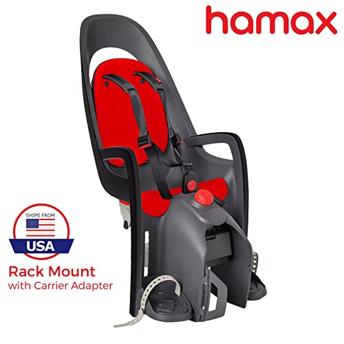 Hamax Caress Rear Child Bike Seat (Grey\/Red, Frame Mount)