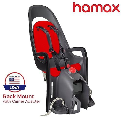 Hamax Caress Rear Child Bike Seat (Grey\/Red, Frame Mount)
